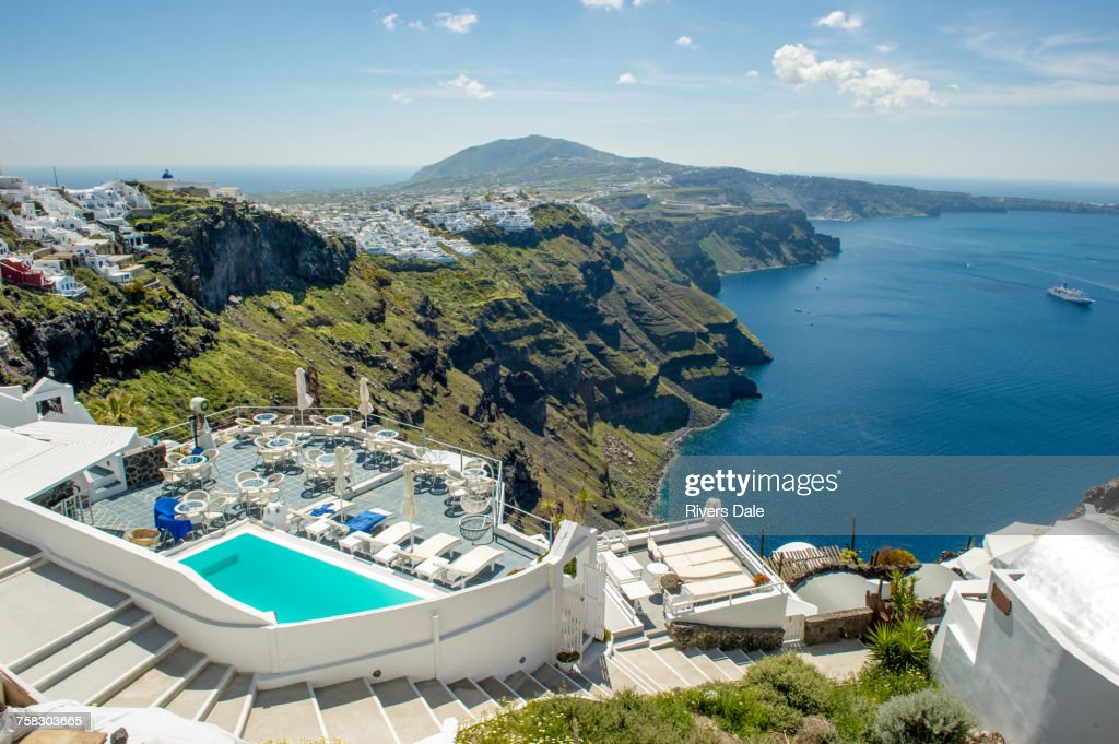 View Of Hotels Pool And Sea Oia Santorini Greece High Res