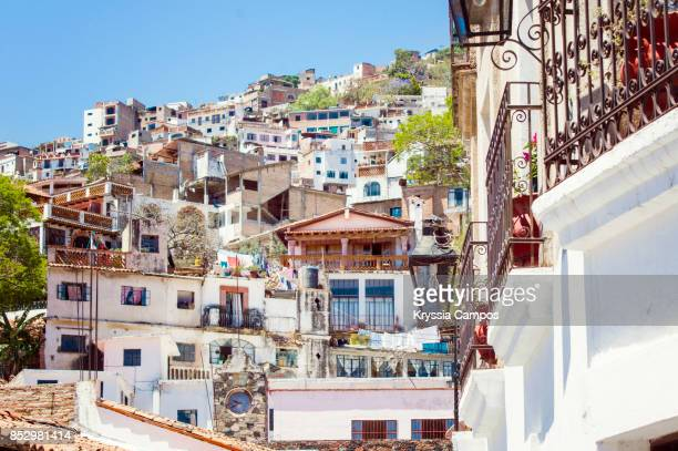 view of houses in taxco de alarcon, mexico - guerrero stock pictures, royalty-free photos & images
