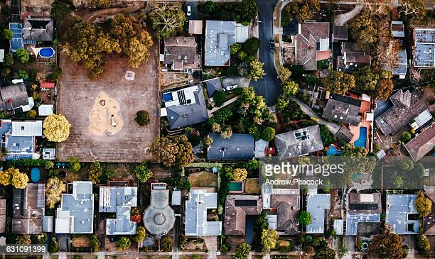 View of houses in the suburbs from above