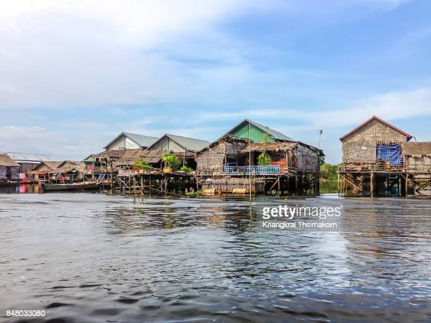 View of houses in Tonle Sap lake in Cambodia.