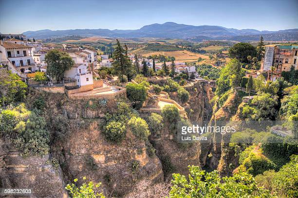 View of houses lining cliffs, Ronda