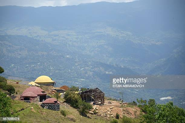 View of houses made with tires in Choachi Cundinamarca Colombia on March 16 2015 In the same way as igloos thermally efficient and resistant to...