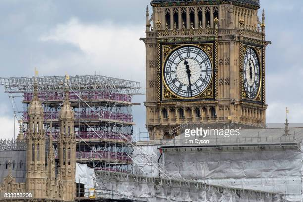 A view of Houses of Parliament and the Elizabeth Tower better known as 'Big Ben' on August 15 2017 in London England As part of extensive restoration...