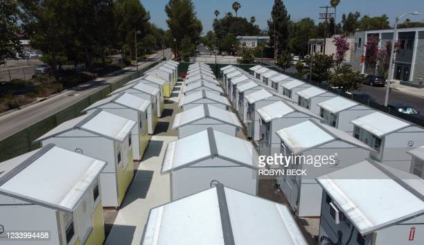 View of housing units at the Tarzana Tiny Home Village which offers temporary housing for homeless people, is seen onJuly 9, 2021 in the Tarzana...
