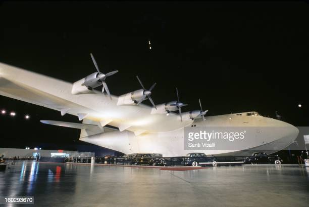 A view of Howard Hughes' airplane the Spruce Goose in 1990 in Long Beach California