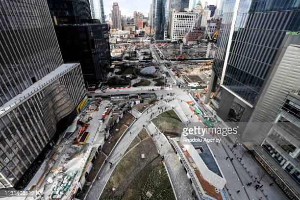 A view of Hudson Yards development site from 'The Vessel' on the West Side of Midtown Manhattan in New York United States on March 18 2019 The...