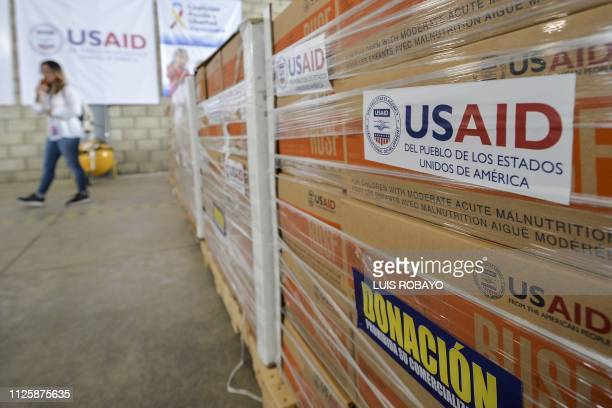 View of humanitarian aid for Venezuela inside a warehouse at the Tienditas International Bridge in Cucuta Colombia on the border with Venezuela on...
