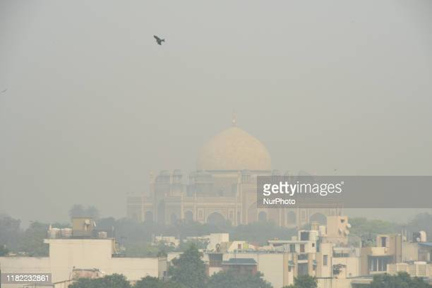 A view of Humayun's Tomb as smog engulfs the capital worsening the air pollution to 'Severe' category in New Delhi India on 14 November 2019