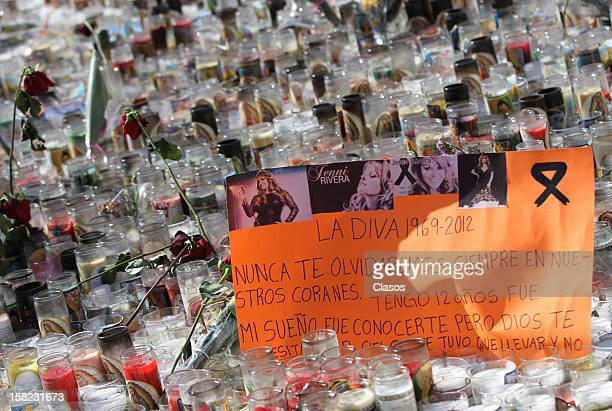 View of hundreds of candles are placed by fans in Monterrey Basilica in memory of singer Jenni Rivera on Tuesday December 11 2012 in Monterrey Mexico