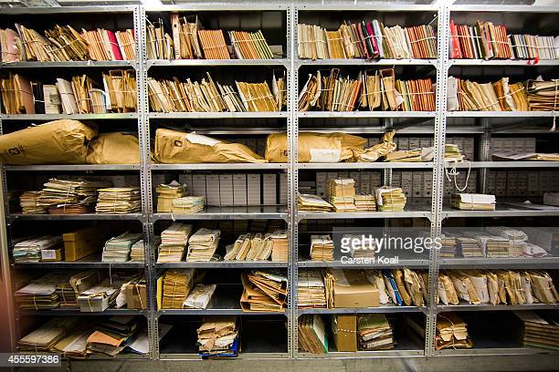 A view of hundreds of files lining the shelves in the archives of the former East German secret police known as the Stasi on September 16 2014 in...