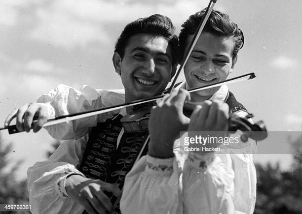 A view of Hungarian Gypsies as they play in Budapest Hungry Circa 1950