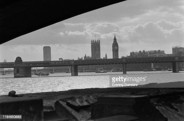 View of Hungerford Bridge between Charing Cross and Waterloo carrying the South Eastern Railway over the River Thames at Westminster in London, 16th...