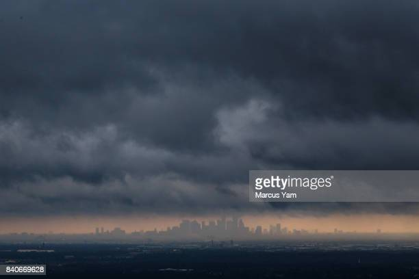 View of Hurricane Harvey's storm clouds move east revealing clearer skies, in Houston, Texas, on Aug. 29, 2017.