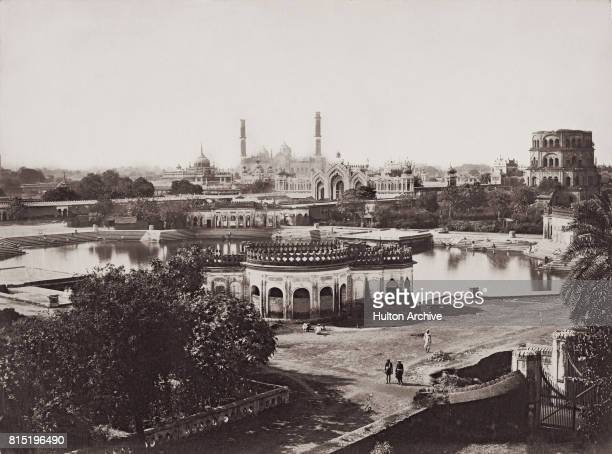 A view of Husainabad Lucknow India circa 1870 In the background are the Bara Imambara complex the Hussainabad Gate and the Satkhanda lunar...