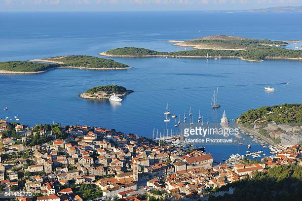 View of Hvar town and Pakleni Islands from an observation point