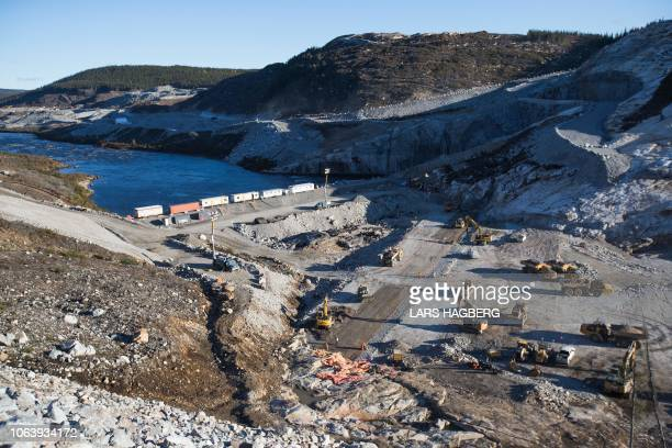 View of Hydro-Quebec's Romaine 4 hydroelectric dam floor in the Côte-Nord Administrative Region of Quebec, Canada, on October 5, 2018. - On a frigid...
