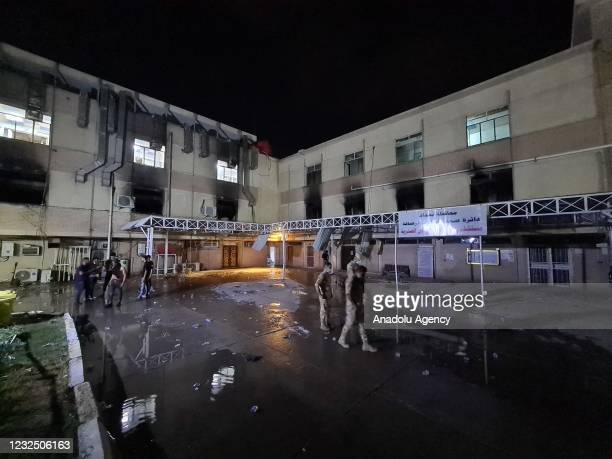 View of Ibn al-Hatip Hospital as fire erupts at the hospital where coronavirus patients were being treated in Baghdad, Iraq on April 24, 2021. Nearly...