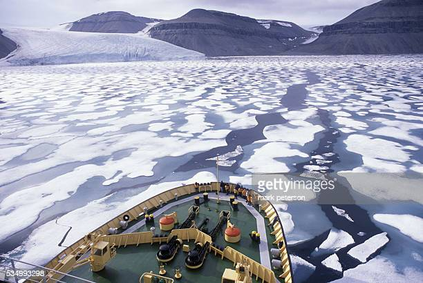 View of ice and the Prince Leopold Island cliffs in the fog from the Russian Beaufort Sea icebreaker ship 'Kapitan Khlebnikov' on one of the Quark...