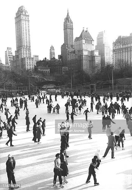 View of ice skaters in Wollman Rink in Central Park New York New York 1951