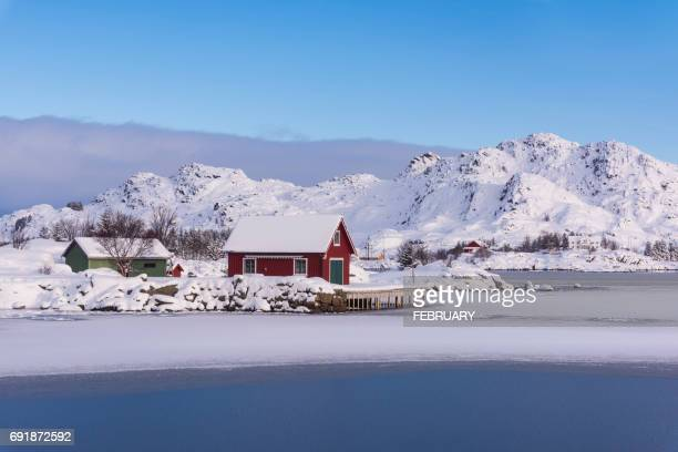 View of Idyllic coastal village in winter, Norway