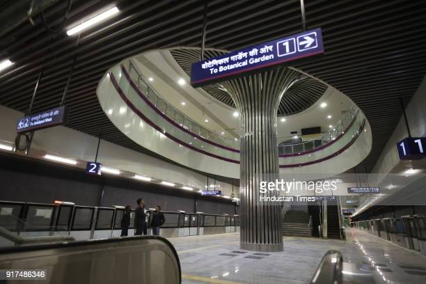 A view of IGI Airport Terminal 1 IGI Metro station on the Delhi Metro's Magenta Line on February 3 2018 in New Delhi India This Janakpuri...