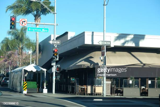 View of Il Pastaio restaurant. Restaurants in the Beverly Hills area take over the pavements and roadsides for outside dining on February 17, 2021 in...
