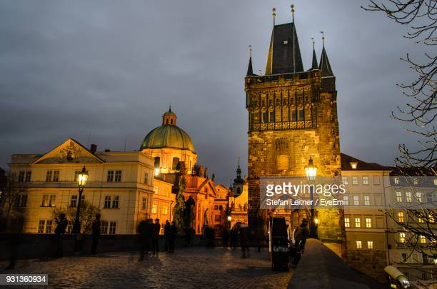 View Of Illuminated Cathedral Against Sky At Dusk