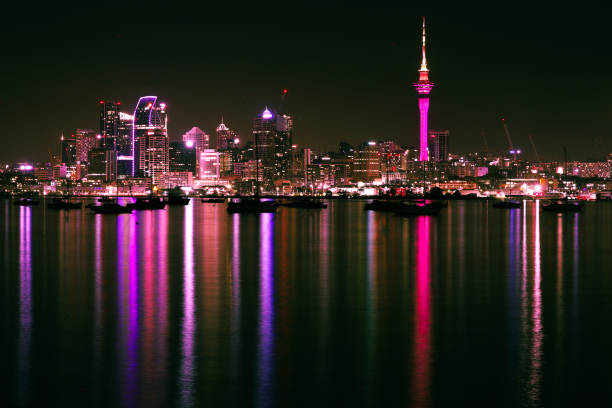 View of illuminated city at night,Auckland,New Zealand