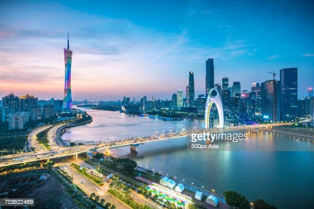 View of illuminated Liede Bridge over Pearl River at sunset, Guangdong, Guangzhou, China