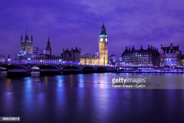 view of illuminated london cityscape at night - city of westminster london stock pictures, royalty-free photos & images