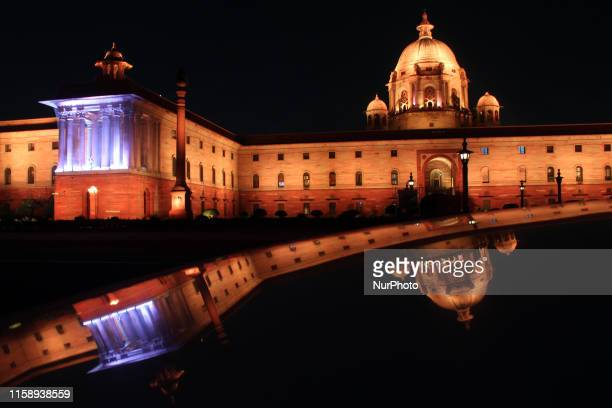 View of illuminated Rashtrapati Bhavan ahead of Independence day celebrations on August 01, 2019 in New Delhi. The Rashtrapati Bhavan including North...