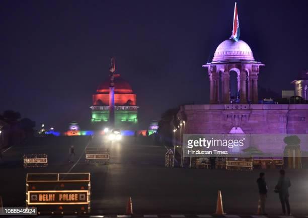 A view of illuminated Rashtrapati Bhavan ahead of Republic Day 2019 celebrations at Vijay chowk in New Delhi India on Friday evening January 25 2019