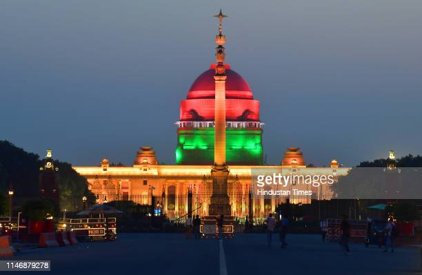View of illuminated Rashtrapati Bhawan ahead of Prime Minister Narendra Modi's swearing-in ceremony, on May 29, 2019 in New Delhi, India.
