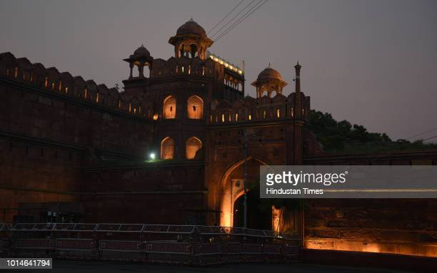 A view of illuminated Red Fort ahead of 72nd Independence day by NBCC on August 10 2018 in New Delhi India