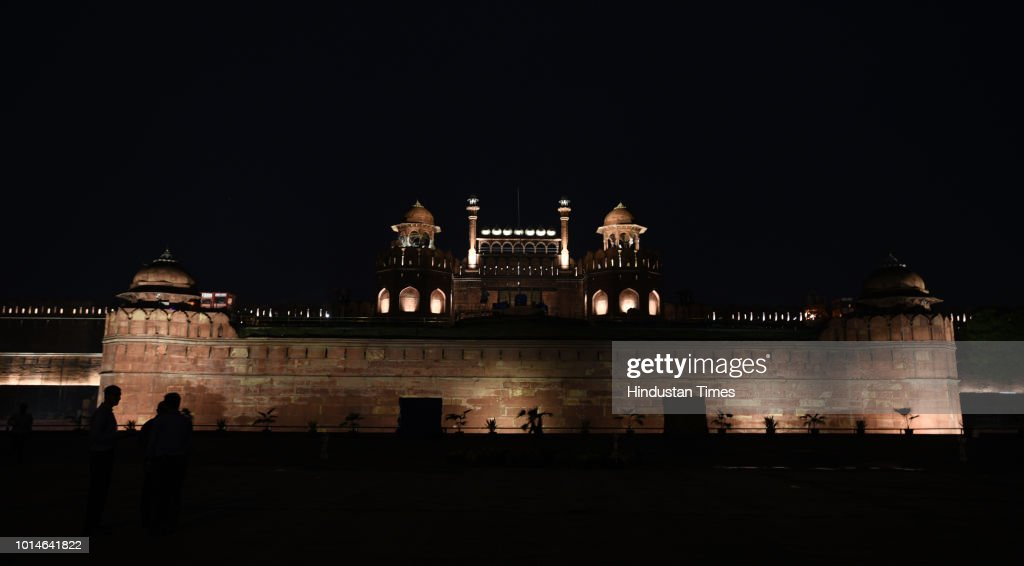 A view of illuminated Red Fort (Lal Qila) ahead of 72nd Independence day by NBCC on August 10, 2018 in New Delhi, India.