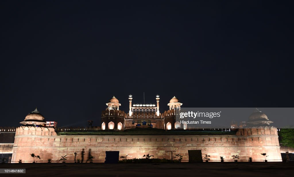 Illuminated Red Fort Ahead Of 72nd Independence Day