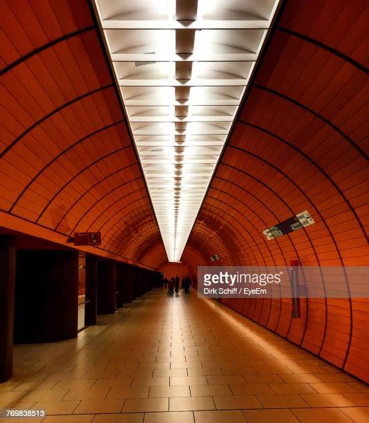 view of illuminated subway station - schiff stock photos and pictures