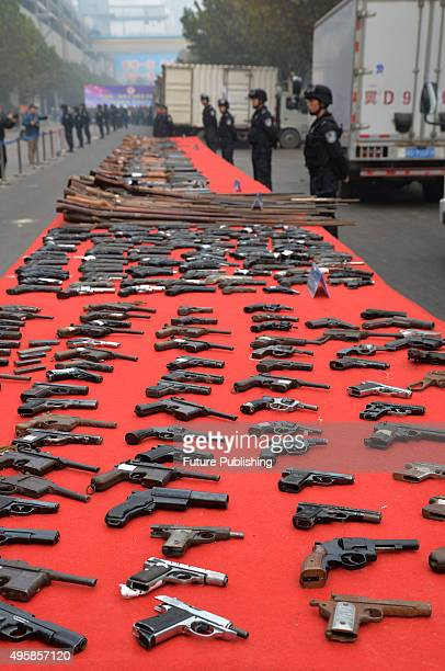 A view of imitation guns to be destroyed in a provinical campaign against illegal weapons and explosives on November 5 2015 in Handan China A total...