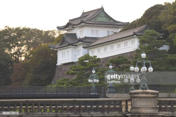 A view of Imperial Palace entrace as Tokyo Police have launched tight security measures in the capital ahead of US President Donald Trumps first...