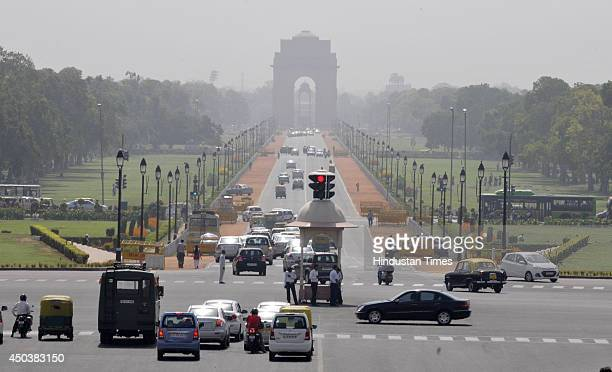 A view of India Gate and Rajpath as the capital witnessed another day of scorching sun and blistering heat with maximum temperature settled six...
