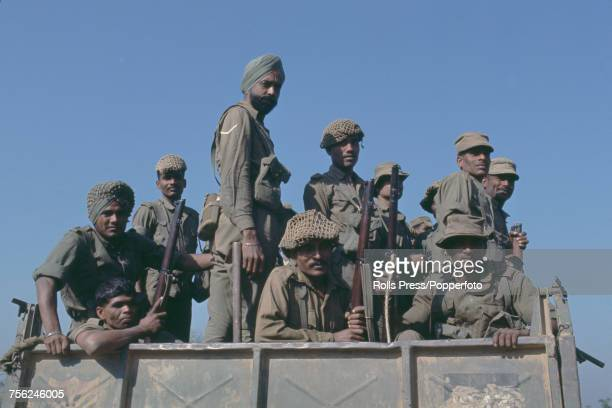 View of Indian army troops advancing in a truck towards the East Pakistan town of Jessore on 9th December 1971 The Indian Army and Bangladeshi...