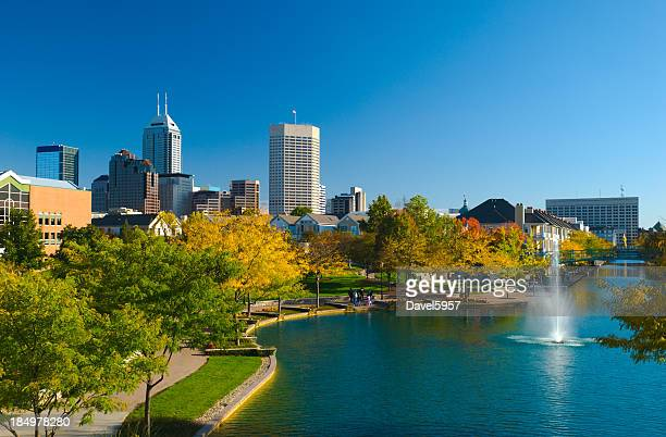 view of indianapolis skyline and canal walk - indiana stock pictures, royalty-free photos & images