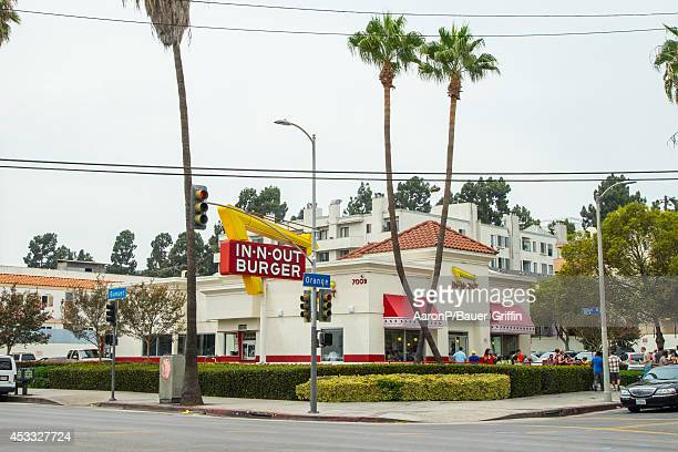 A view of InNOut Burger restaurant in Hollywood on August 07 2014 in Los Angeles California