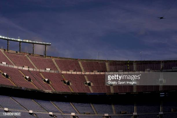 View of inside the stadium prior to the UEFA Champions League group E match between FC Barcelona and Dinamo Kiev at Camp Nou on October 20, 2021 in...