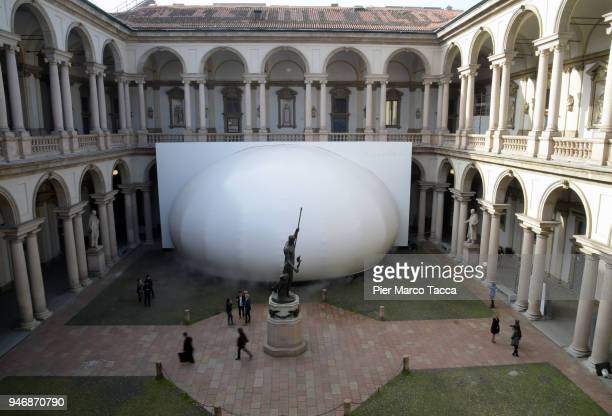 A view of installation 'Transitions by Panasonic Design' at the Pinacoteca di Brera is displayed for Panasonic 100th aniversary during the Milan...