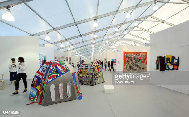 View of installations titled 'Dome Dwelling' by Lucy and Jorge Orta on exhibit at Untitled Art Fair during Art Basel Miami Beach on December 05 2017...