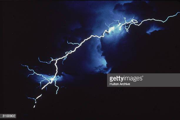 View of intercloud lightning at night late Twentieth Century