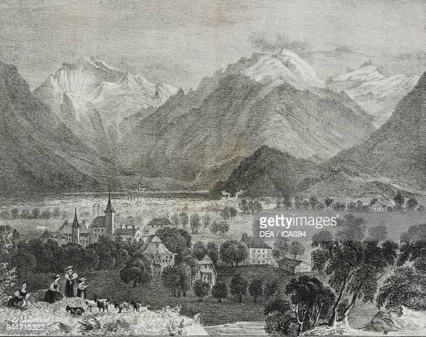 View of Interlaken Switzerland lithograph by Salvatore Puglia from Poliorama Pittoresco n 36 April 16 1842