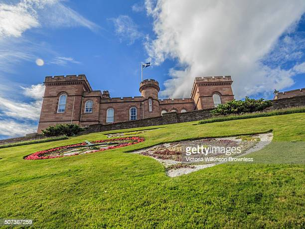 CONTENT] View of Inverness Castle with Saltire flying and sculpted flowerbeds in the foreground