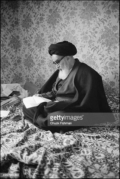 View of Iranian leader Ayatollah Ruhollah Khomeini , in exile, as he reads in his room, Neuphe-le-Chateau, France, January 1980. A few days later, he...